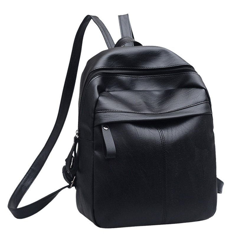 PU Leather Women Backpack Women Bag Solid Small Female Zipper School Bags For Teenager Girls Casual Preppy Style Black Backpacks simple preppy style backpack women pu leather backpacks for teenage girls school bags fashion vintage solid shoulder bag black