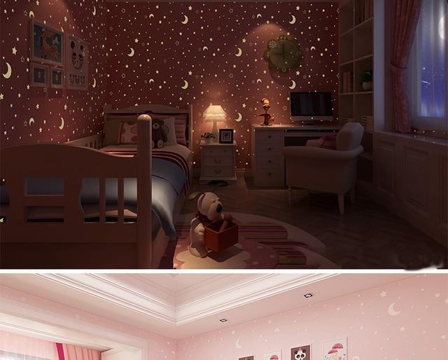 Glow Effect Night Sky Design Star And Moon Luminous Wallpaper Kids Ceiling Decor Fluorescent Wall Paper