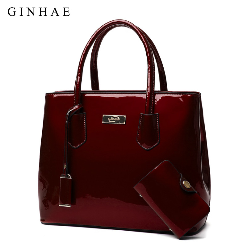 d2969c408b3 Elegant Women Set Bag Fashion Patent Leather Tote Handbags Female Large  Shoulder Messenger Bag Credit Card