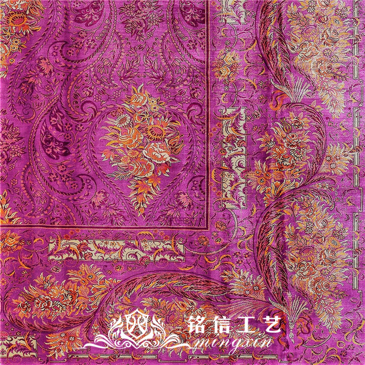 7'x10' tapis de soie persan noués à la main tapis de zone orientale en soie tissée à la main - 6
