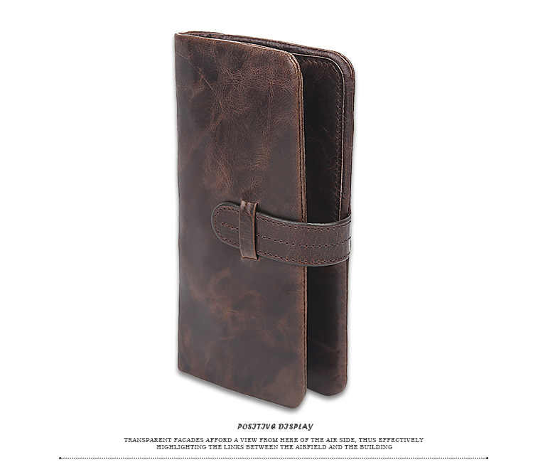 الرجال البني محفظة طويلة مجنون الحصان الجلد الأصلي حقيبة الذكور محافظ حجب محفظة نسائية للعملات المعدنية الوجه ID الائتمان حامل بطاقة جيب مخفي