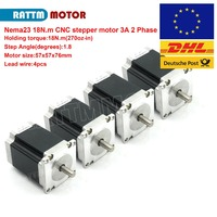 DE Delivery!!FREE VAT!! 4Pcs 2 Phase Nema23 Stepper motor 76mm 180Nm(270 Oz in) 3.0A stepping motor from RATTM MOTOR