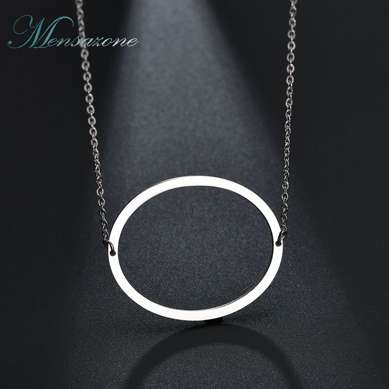 MENSAZONE Casual Office Collares Letter Capital O Round Stainless Steel Kolye Necklace for Women Girl Jewelry Gift