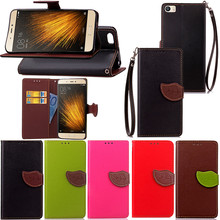 Mi5 case Elegant Leaf Design PU leather Wallet Case For xiaomi Mi5 case Wallet Card Holder stand Flip Mobile Phone Bags cover