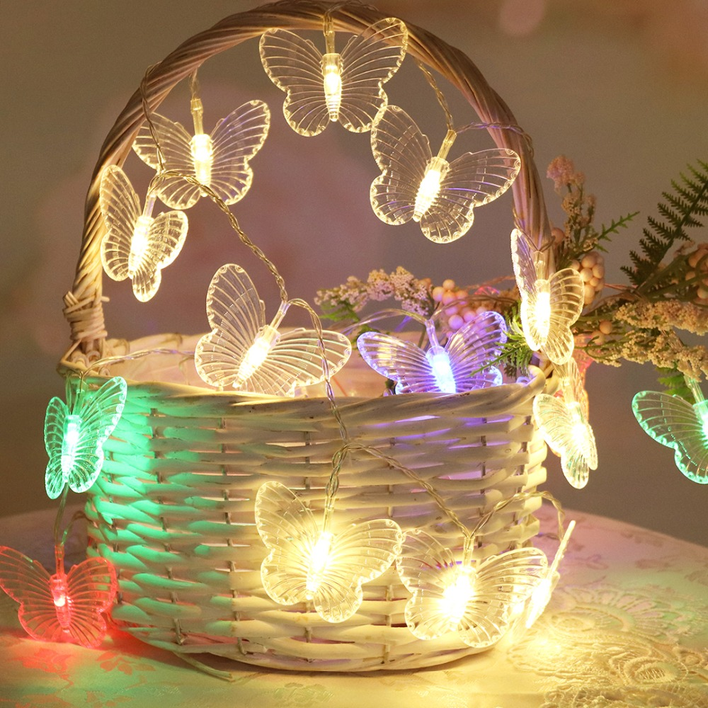 1m 2m 3m 4m 5m LED String Light Butterflies Garland Fairy Holiday Light Christmas Wedding Party Decoration Lighting JQ