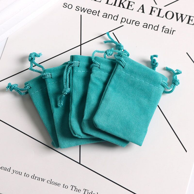 5x7cm Lake Blue Velvet Bags Pouches Drawstrings Soft Small Jewelry Gift Packing Bags 10pcs