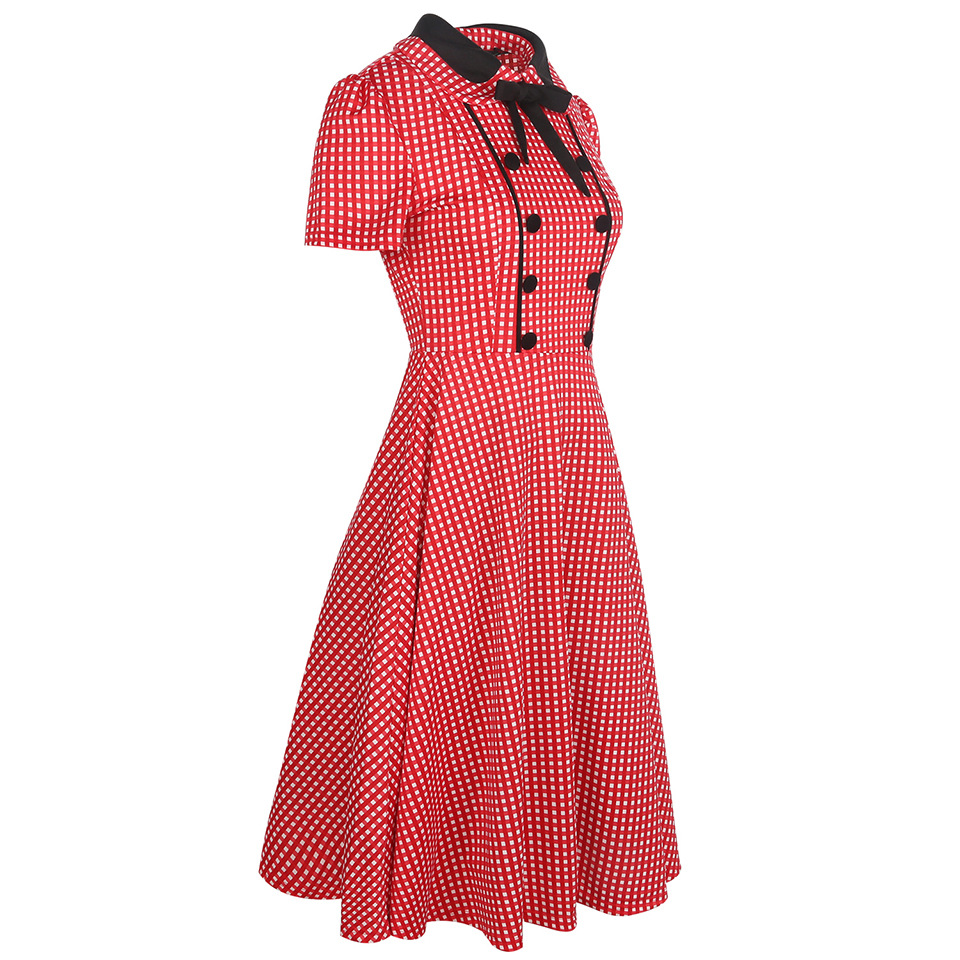 1e66bb96b1 1940s 1950s Retro Style Short Sleeve Empire Waist Elegant Plaid Pattern Pin  Up Dress Swing Dress Ball Gown