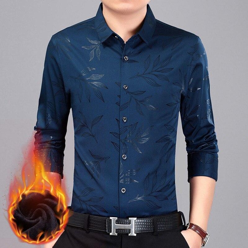 W112401580 uomini di modo ha stampato Risvolto degli uomini manica lunga camicia con la camicia di velluto