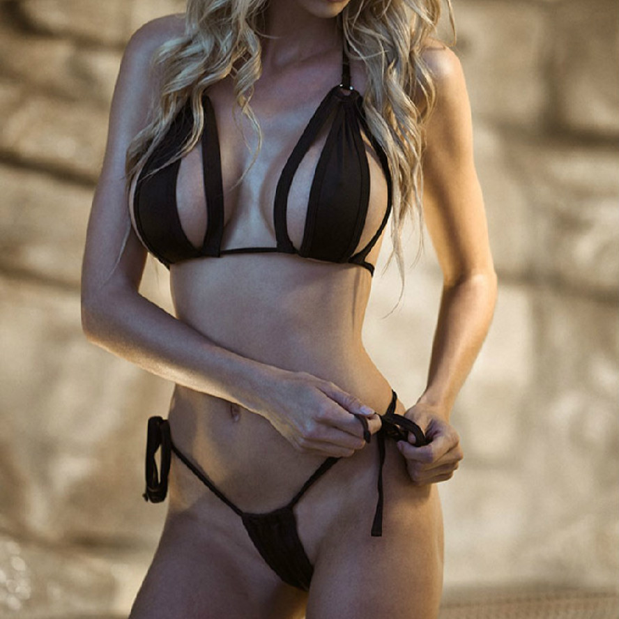 2019 <font><b>sexy</b></font> women's <font><b>micro</b></font> <font><b>bikini</b></font> suit thong swimwear temptation black bandage swimsuit beachwear HOT image