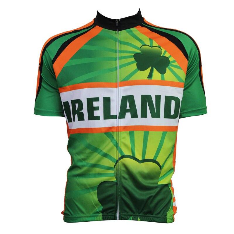 ФОТО 17 IRELAND Pattern Men 2017 Sleeve Bike new Green Polyester Full Zipper bike jersey XS-5XL