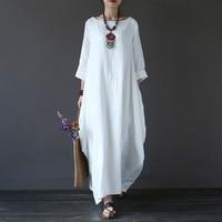 Faylisvow/большие размеры, летнее макси платье, мешковатое 3/4, хлопковое льняное длинное платье с рукавами «летучая мышь», повседневное длинное ...