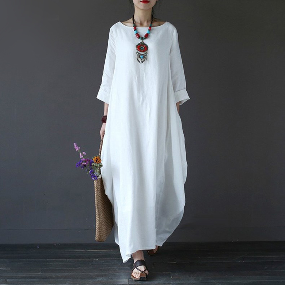 Faylisvow Plus Size Summer Maxi Dress Baggy 3/4 Batwing Sleeve Cotton Linen Long Dresses Casual Bohemia Long Robe Dress 4XL 5XL