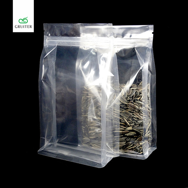 Whole Top Quality 100 Full Clear Glossy Mylar Bags Flat Bottom Stand Up Zip Lock