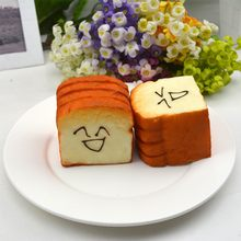 PU Material Simulation Fake Bread Kitchen Decoration Model Cute Kawaii Face Big Toast Slices Cake Shop Showcase(China)