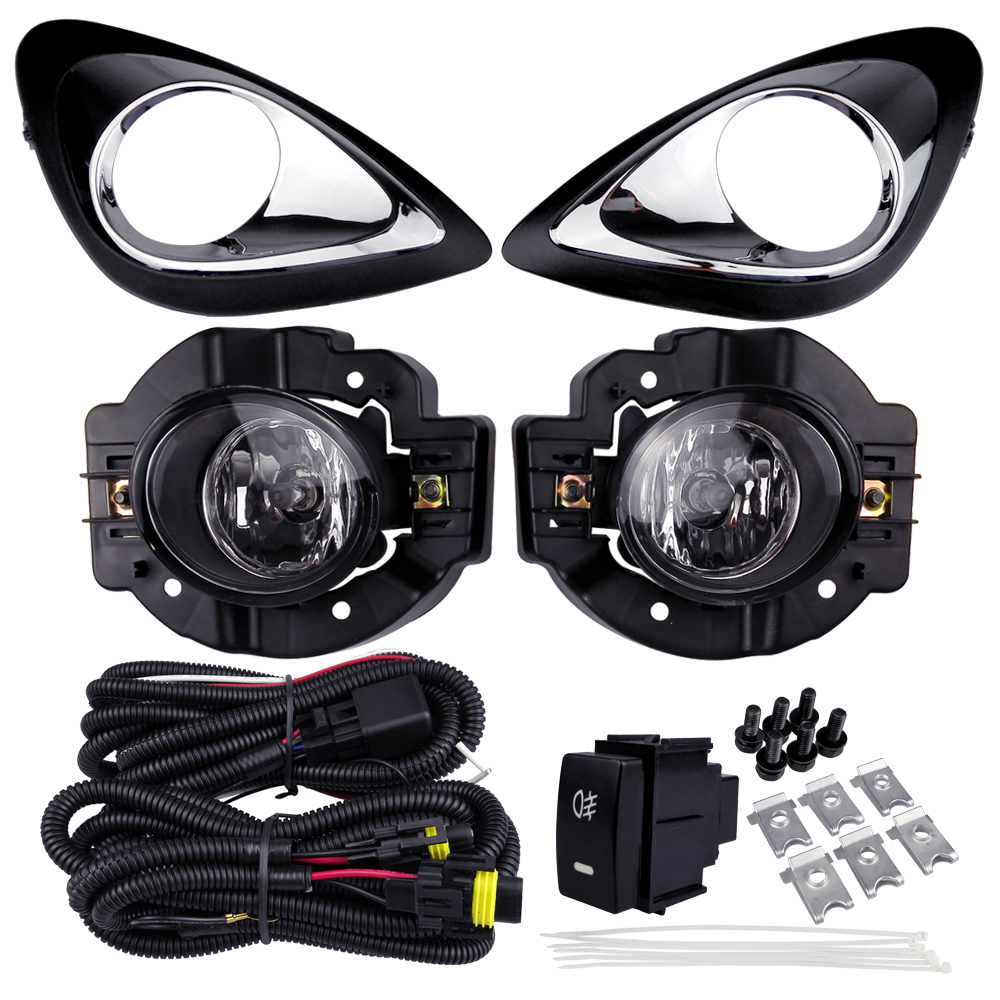 For NISSAN MICRA MARCH 2014 Fog Light Assembly Car Lights ABS Plastic 4300K Yellow 12V 55W Halogen Lamp Accessories Plating