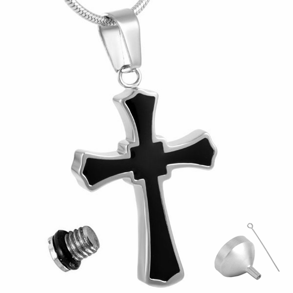 MJD8023 Shiny Silver Necklace Black Stainless Steel Cross Shape Cremation Jewelry Urn Pendant