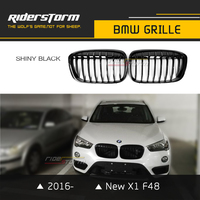 for New BMW X1 F48 Front Kidney Carbon ABS Grille Auto Grill Mesh Replacement LCI 2016 2017 Shiny Black Matte Tri Color