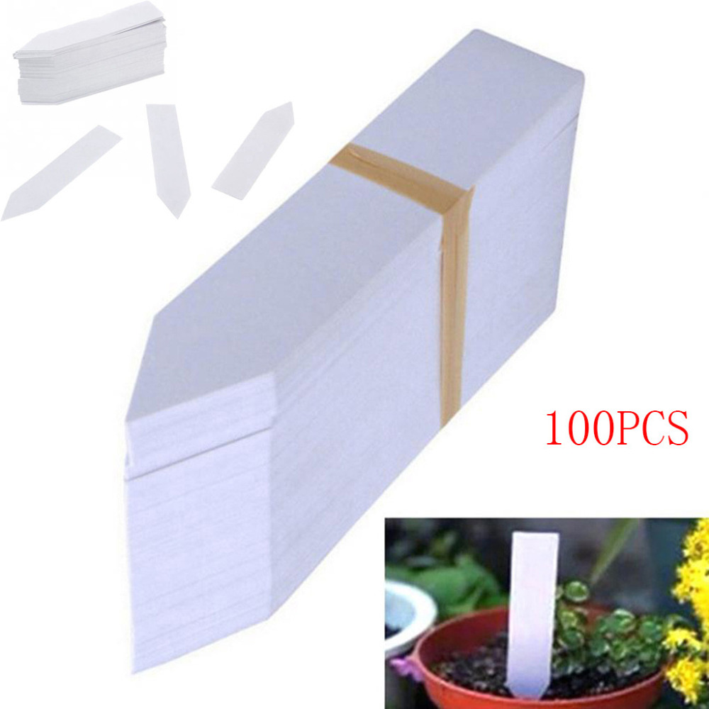 100 Pcs Plastic Plant Seed Labels Pot Marker Nursery Garden Stake Tags For Garment Sewing Accessories 10cm X 2cm #F
