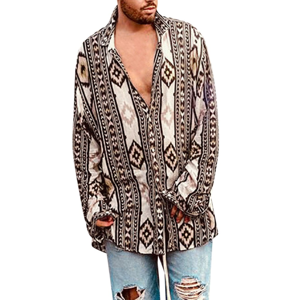 Womail 2019 New Arrival Fashion Men's Baggy Beach Print Long Sleeve Button Trun-down Collar Shirts Man Shirts High Quality