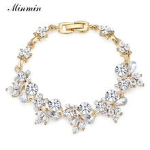 ФОТО minmin flower silver/gold plated bracelets fashion accessory for women crystal jewelry gifts free shipping sl079