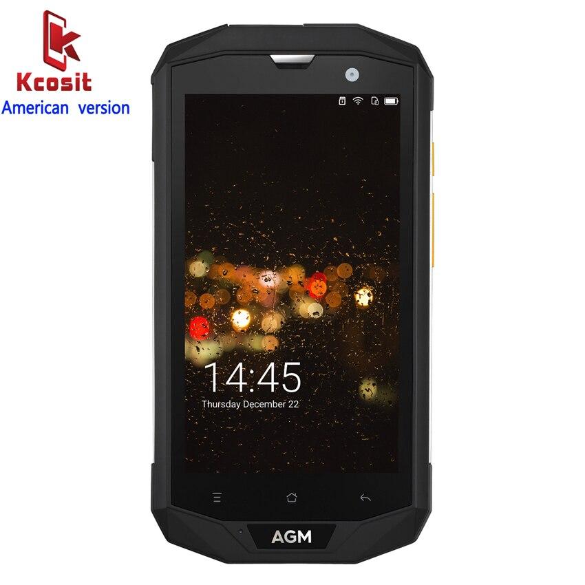 Original AGM A8 American version IP68 Rugged Tough Waterproof Phone Android 7.0 3GB RAM Qualcomm MSM8916 Quad Core 13.0MP