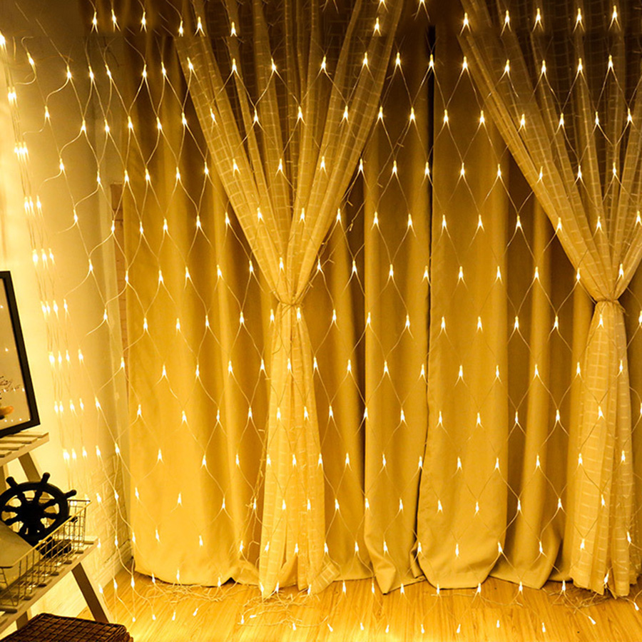 BEIAIDI 2x2M 3x2M 6x4M Window Curtain Icicle LED String Light Outdoor Wedding Christmas LED Mesh Net Fairy String Garland Light beiaidi 3m 444led 3pcs peacock christmas mesh net fairy led string outdoor wedding window icicle fairy string light garland