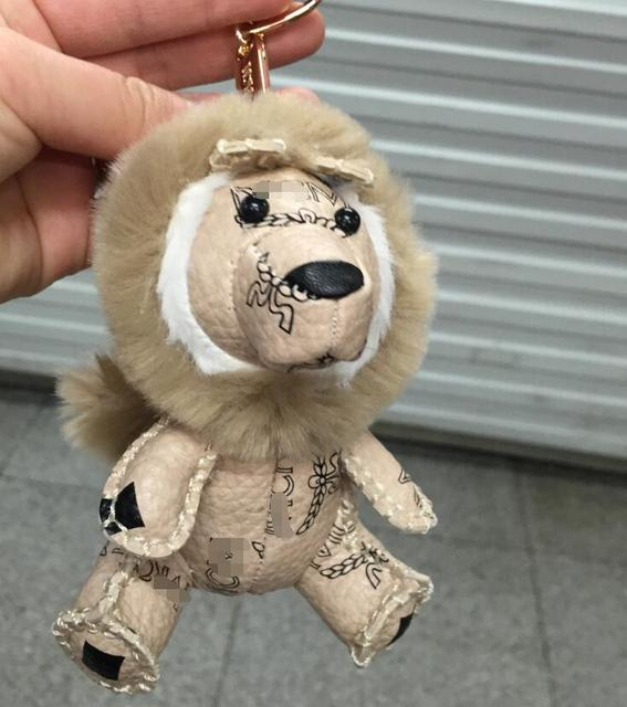 Genuine Leather Lion Dolls Keychains Lion shaped Key chain Trinket Key Holder Ring Keyholder Novelty Gift Unique Bag Pendant