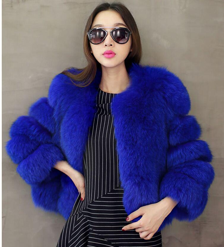 Новое поступление, модное женское меховое пальто, высокое качество, искусственный Лисий мех, пэтчворк, короткое пальто, женская зимняя теплая куртка, парка - Цвет: blue