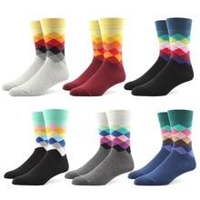 90% cotton Men dress socks casual argyle diamond EU 39-44  formal style Mid calf 6 pairs