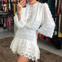 BeAvant Elegant white chiffon dress women Long sleeve polka dot lace dresses female Luxury slim evening party dress vestidos