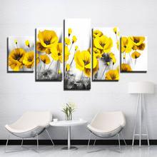 5 шт холст с изображением желтого макового цветка