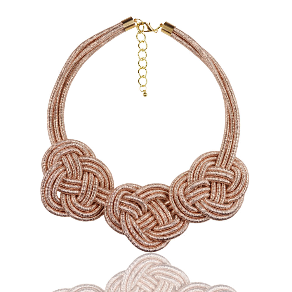 New Arrival Women Piazza Collar Necklace Rose Gold Tone Lurex Necklace With Big Knotted Design Statement Necklaces ...