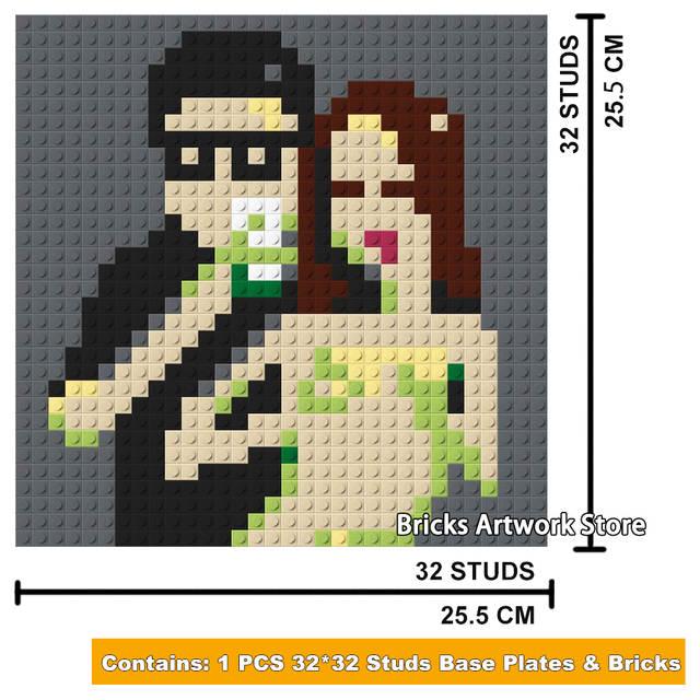 1465 3232 Plaque Pixel Art Mosaïque Peinture Bricolage Homme Sexy Dame Fille Portrait Chiffres Blocs De Construction Jouets Cadeau Créatif Pour La