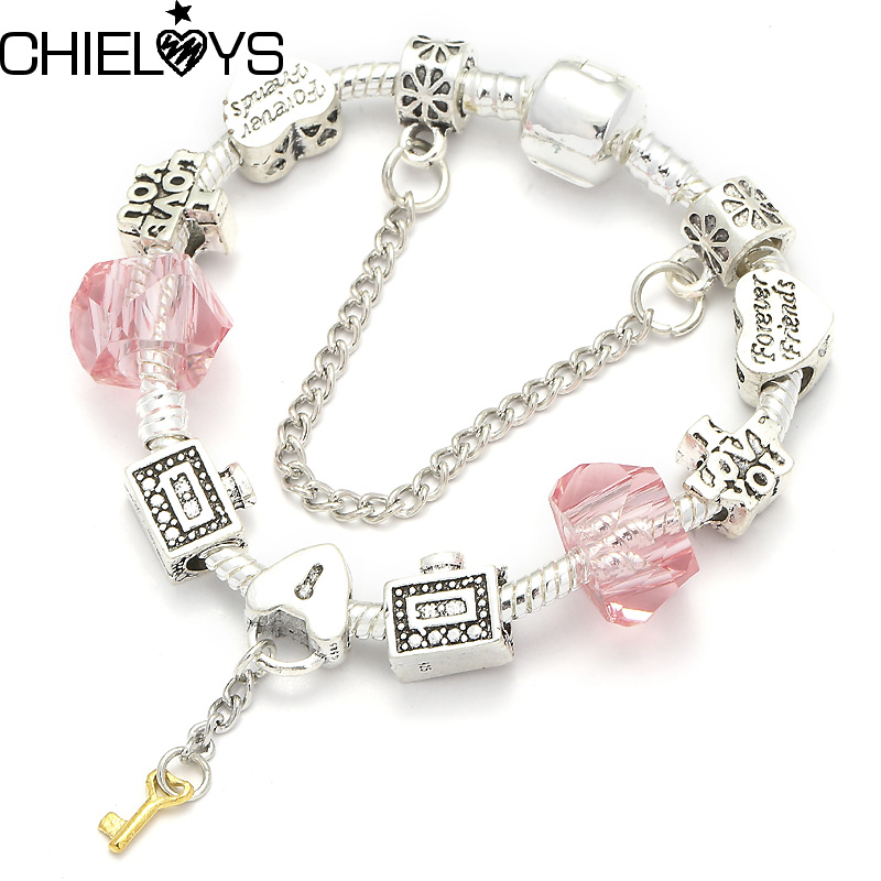 Luxury Brand Bracelet Heart Key Pendant Silver Snake Chain European Original Charm Bracelet Jewelry Lovers/friendship Gift