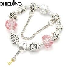 Luxury Brand Bracelet Heart Key Pendant Snake Chain European Original Charm Bracelet Jewelry Lovers/friendship Gift