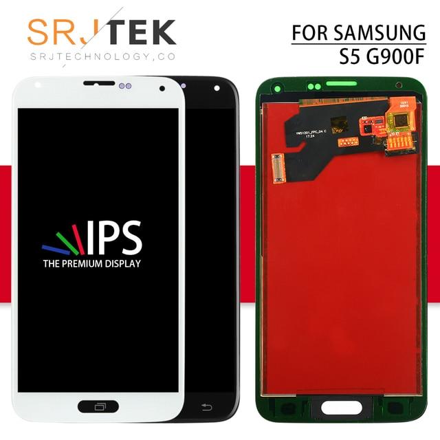 Srjtek لسامسونج S5 شاشة G900 عرض G900 LCD شاشة مجموعة رقمنة اللمس متوافق لسامسونج غالاكسي S5 G900F LCD