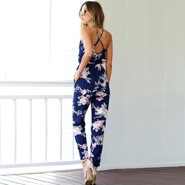 OMSJ Women 2018 New Vintage Floral Print Boho Jumpsuit Deep V-neck Summer Romper,Lady Overalls Long Pants Backless Playsuit