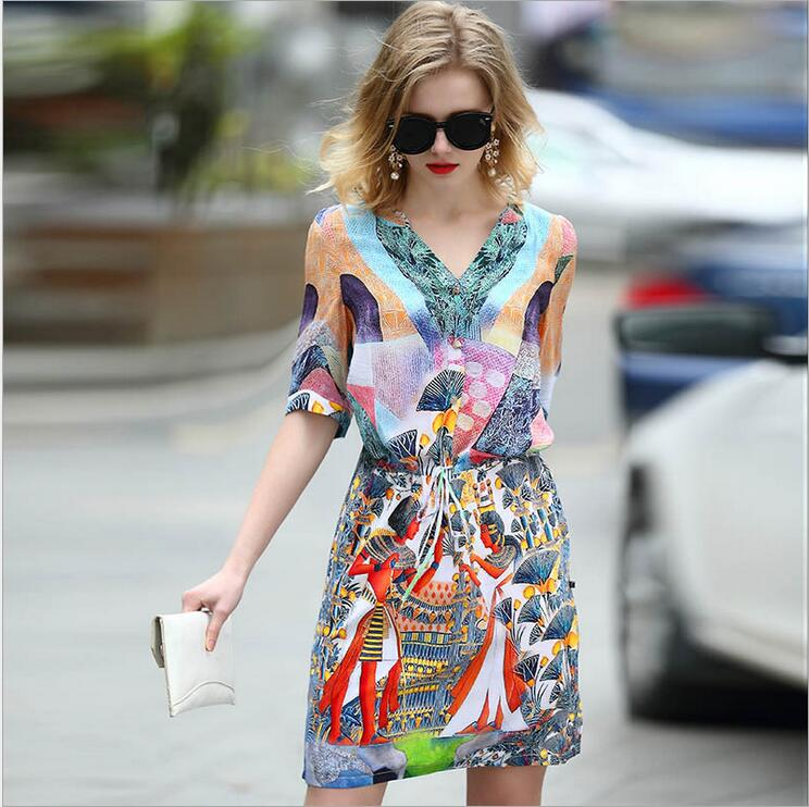 summer lady Women clothing half sleeve Bandage Bodycon printed drawstring 100% real silk dresses M08