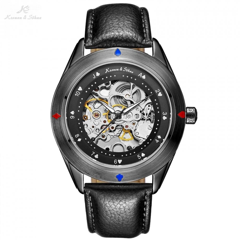 KS Automatic Self Winding Poker Card Full Black Steampunk Transparent Movement Male Clock Mens Leather Mechanical Watches /KS383