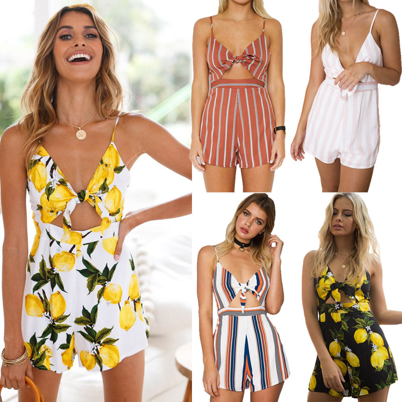 8ab731f3b778 Women Mini Playsuit Jumpsuit 2018 Summer Holiday Beach Sleeveless Casual  Print Short Trousers Jumpsuit Rompers Female Clothing