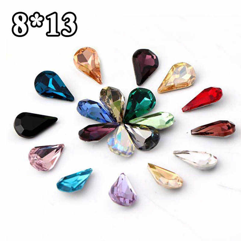 36pcs 8 13 Crystal Glass Rhinestones White Black Grey Red Blue Green Yellow  Brown Pointback 07fc27874606