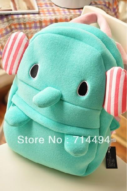 Azul circo elefante toalha material de veludo crianças desenhos animados crianças mochila