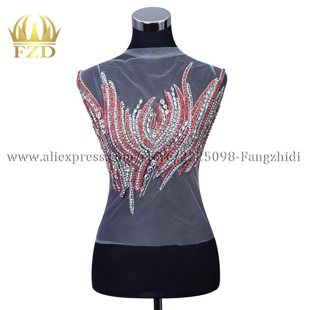 FZD 1 pièce à la main strass perlé patchs de couture Applique strass garniture verre cristal artisanat vêtements tissu