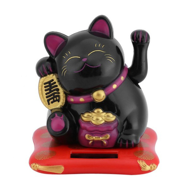 Fashion Black/White Solar Powered Maneki Neko Welcoming Fortune Cat Lucky for Home Car Hotel Restaurant Decoration Craft 6