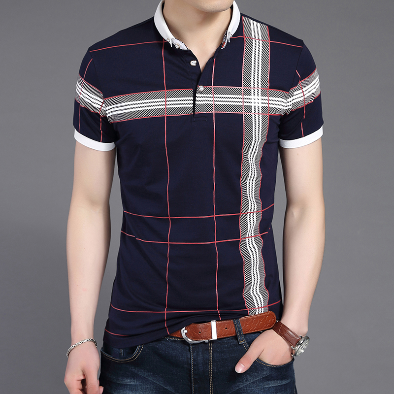 New Summer Men Plaid   Polo   Shirt Slim Fit Gent Classic   Polo   Short Shirts Mens Business Fashion Casual Hipster   Polo   Shirts M-4XL