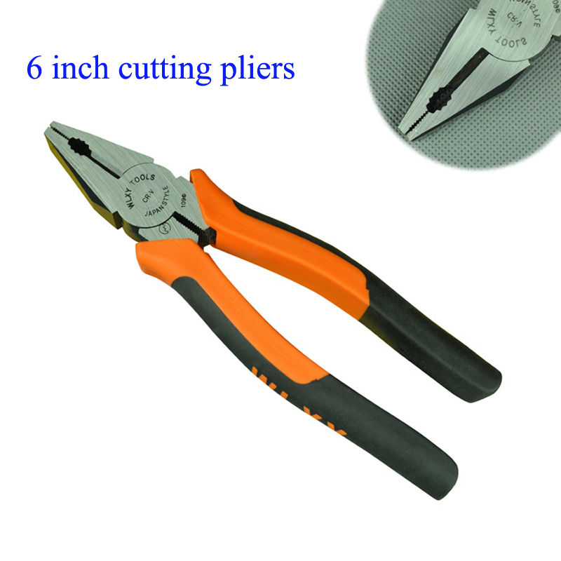6 Inch Cutting Pliers Hand Tools Pincer pliers and Orange Black Handle wire-cutter  WLXY brand electrical tool clamp 6 inch cutting pliers hand tools pincer pliers and orange black handle wire cutter wlxy brand electrical tool clamp