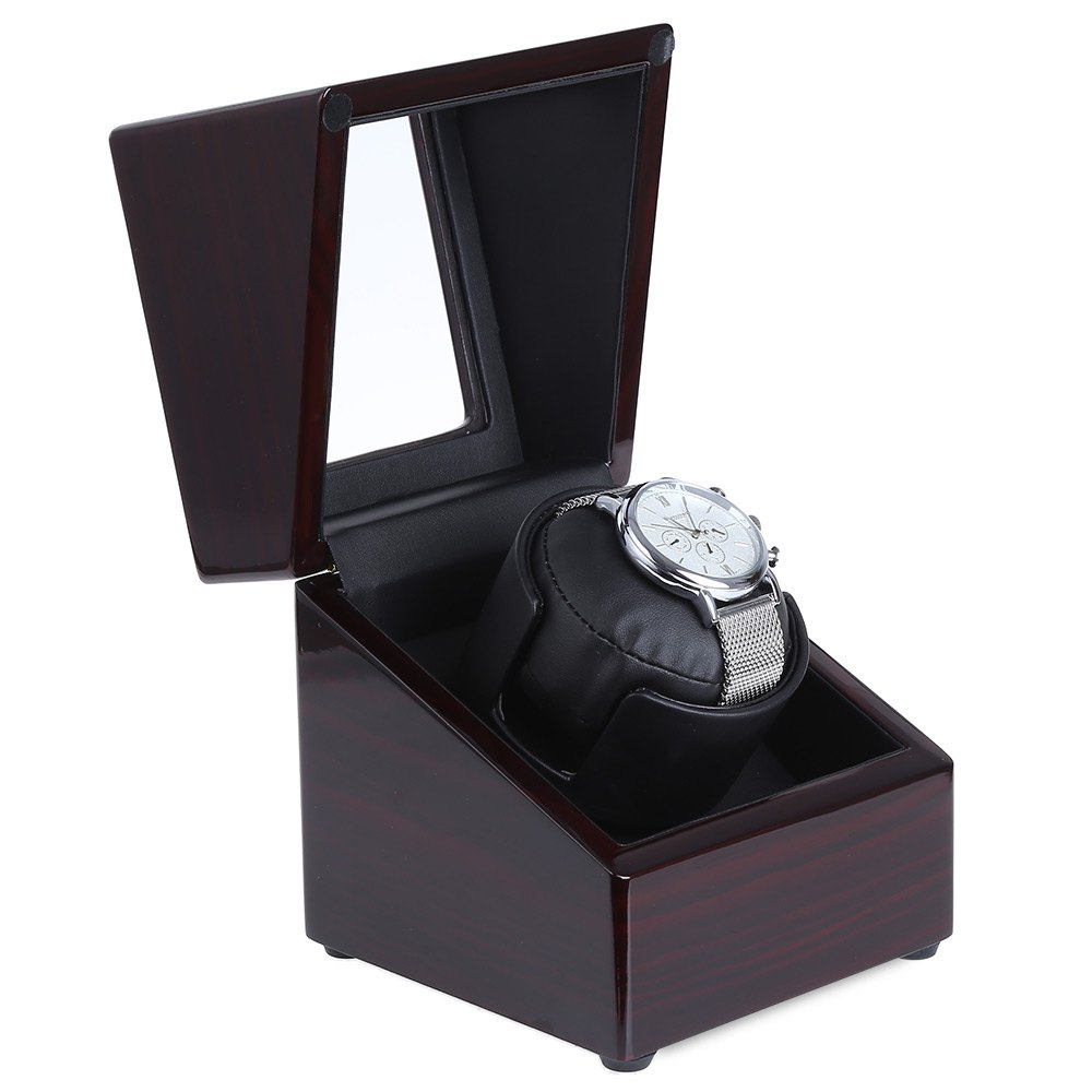 2017 New Luxury Rotary Automatic Rotating Wooden Watch Winder Display Box High Gloss Piano Paint Watch Winder Wristwatch Box 2016 latest luxury 5 modes german motor watch winder yellow spray paint wooden white pu leater inside automatic watch winder