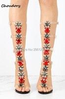 النساء المصارع الصنادل واضحة بلينغ بلينغ الماس الركبة عالية أحذية كريستال عالية الكعب إبزيم حزام شفاف pvc الزفاف صندل