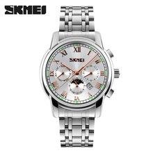 купить SKMEI Luxury Men Quartz Watches Full Steel Strap Waterproof Male Wristwatch Relogio Masculino Clock Calendar Sport Watches 9121 по цене 1493.15 рублей