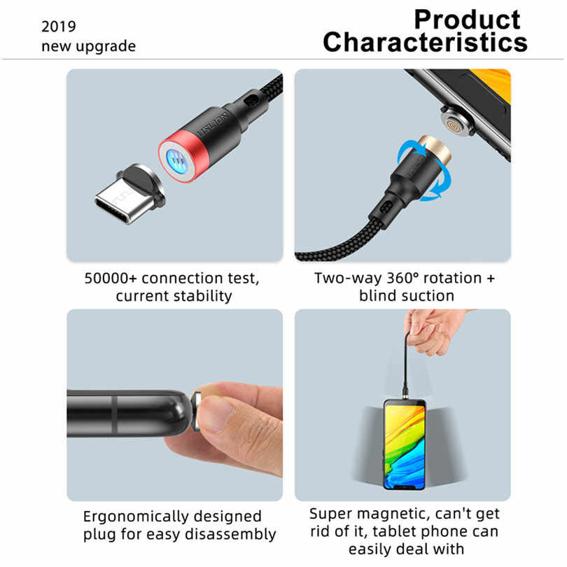 USLION LED Magnetic Cable Micro USB Type C Cable QC3.0 3A Fast Charging For iPhone XS 8 7 Huawei Xiaomi Samsung USB C Charger